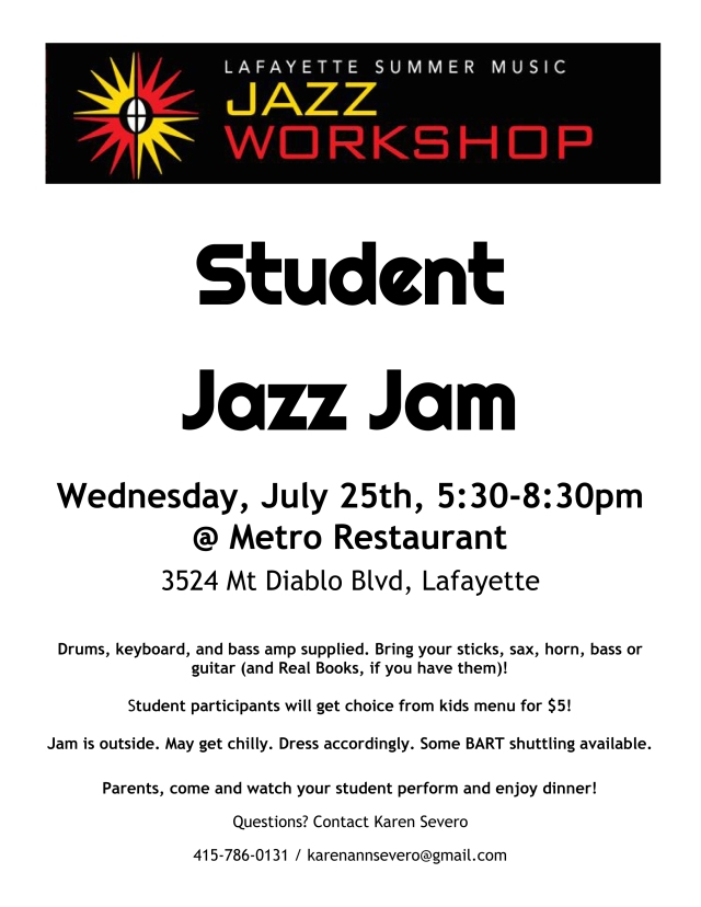 2018 Lafayette summer jazz jam flyer